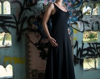 Matte Black Maxi Dress ~ Handmade, Styling, Fashion, Modern, Comfortable