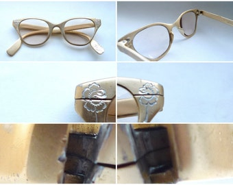 Sale TURA Cat Eye Frames / Floral Eyeglass in Golden Aluminum or Sunglasses / Marks