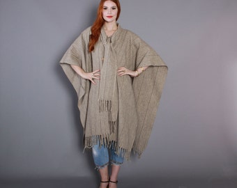 80s Minimalist WOOL PONCHO CAPE / 1980s Fringed Neutral Stripe with Attached Scarf