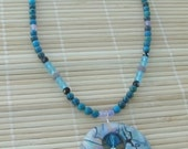 Women's Polymer Clay Fashion  Necklace - Faux Abalone Geometric Jewelry