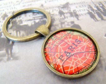 Paris Keychain, Paris France, 25mm Round Keyring, Antiqued Brass Key Chain, Made with Love, Comes in a Cool Gift Box