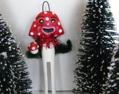 Vintage Style Folk Art Magic Mushroom Clothes Pin Holiday Christmas Ornament OOAK