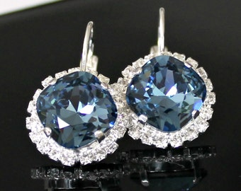 Sapphire Blue Swarovski Crystals Framed with Halo Crystals on Silver Leverback Earrings/Halo Crystal Earrings