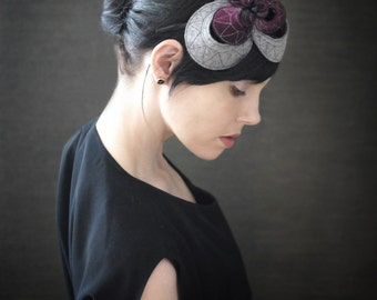 Dark Maroon and Grey Felt Headband With Geometric Pattern - Helix Series - Made to Order