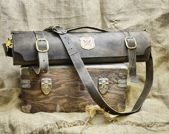 Custom Leather Chef Knife Roll - Distressed Leather Knives Carrying Case Gift for Chefs