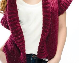 Women's Ribbed Edge Knit Vest Knitting Pattern Digital Download