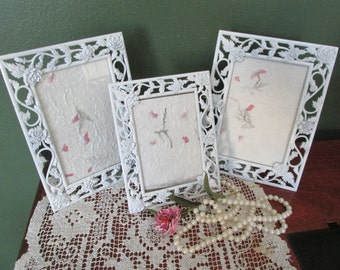 Matching Picture Frames Vintage Upcycled Set of 3 Lightly Distressed Metal Glass and Backing