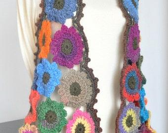 Floral Tank - Crochet Free Size Multicolor Flower Vest