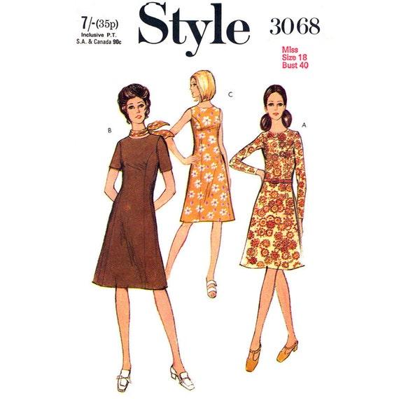 Patron de robe Vintage Style 3068 robe sans manche longue ou courte ...