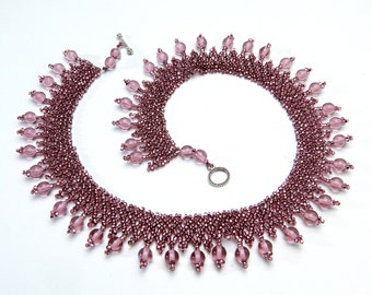 Pink Glass Woven Seed Bead Necklace With Silver Clasp