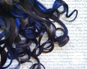 """the C H O C O L A T E . B L U E B E R R Y 100 percent human hair Full Set clip in extensions 18/20"""" brown blue Chocolate Blueberry"""