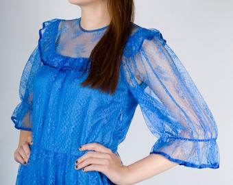 Vintage 70s Neon Bright Cobalt Blue Boho Floral Maxi Sun Dress with Short Sheer Sleeves (sz S M 2 4 )