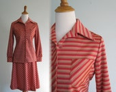 CLEARANCE Vintage 1970s Shirt and Skirt - Coral Striped Leisure Suit by Catalina Sportswear - 70s Pink Skirt Suit M