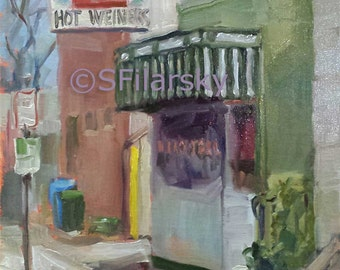 Original Oil Painting The Roast Grill Streetscape Raleigh NC Capital