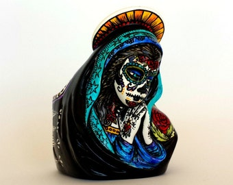 Ceramic Planter Tattoos Day of the Dead Sugar Skull Mary Vase Painted Sacred Heart Mexican Folk Art Dia De Los Muertos - MADE TO ORDER