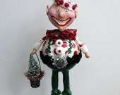 Christmas Holiday Elf Folk Art Doll Collectible