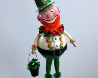 St. Patrick's Day Leprechaun Folk Art Doll Sculpture