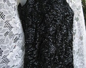 large WOOL FLAPPER BEADED shimmery black tank top sequined sequin sweater