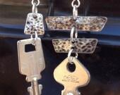 asymmetrical silver keys upcycled earrings - 535