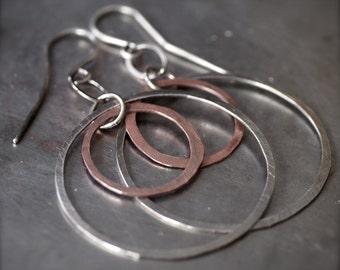 Lightweight double mixed metal hoop earrings
