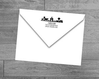Custom Farm Ranch Wood Mounted or Self Inking Return Address Stamp