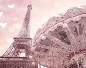 Paris Photography, Eiffel Tower Carousel Prints, Paris Baby Girl Nursery Decor, Eiffel Tower Carousel Photos, Paris Pink Carousel Wall Art