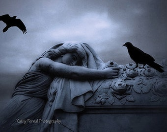 Surreal Gothic Photography, Female Mourner Grave Ravens Crows, Haunting Spooky Dark Cemetery Art, Halloween Cemetery Grave Mourner Ravens