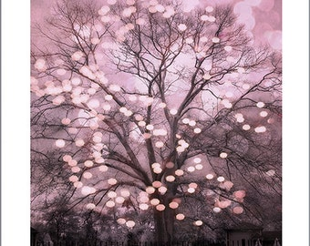 Fairy Lights Pink Nature Photography, Fairytale Lights Fantasy Nature, Sparkling Pink Fantasy Tree, Baby Girl Nursery Decor, Pink Nature Art