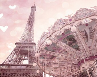 Paris Photography, Eiffel Tower Carousel Prints, Paris Baby Girl Nursery Decor, Eiffel Tower Carousel Photos, Paris Pink Carousel Wall Art