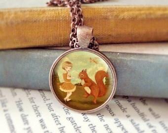 Squirrel Pendant, Squirrel Necklace, Squirrel Jewelry, Squirrel Animal Necklace, Animal Jewelry, Kids Jewelry Children - Squirrel Dance