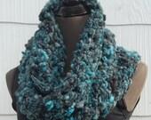 Teal & Black Handmade Crochet Mobius Cowl Neckwarmer OOAK