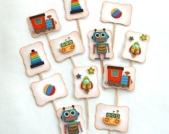 Primary Colored Toys! - Cupcake Toppers