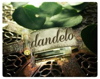 dandelo natural perfume oil mini 2-vial sampler pack - notes: dandelion blossom, pomegranate, geranium and white willow