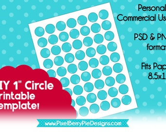 """1 inch Circles DIY Collage Sheet Printable (Instant Download!) 8.5x11"""" & 4x6"""" Digital Overlay, PSD/PNG Files, for Jewelry Making"""