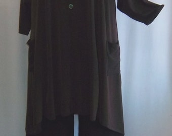 Coco and Juan, Lagenlook, Plus Size Top, Chocolate Brown Traveler Knit Trapeze, Plus Size Tunic, Size 2 (fits 3X/4X)  Bust 60 inches
