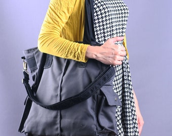 Sale 20% OFF-Grey Canvas Tote/Shoulder bag/Diaper bag/Messenger Bag/School bag/Market bag/tote/Laptop bag/Casual bag/for her/for him - 071