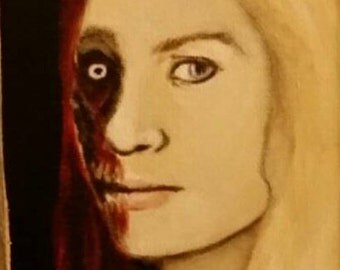 The Sharpshooter - The Walking Dead.  Andrea, why the bad choices in men?  Barnwood frame and canvas panel, acrylic painting.