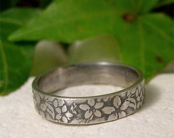 Sterling Silver Ring Band, Hand Forged Silver Jewelry, Silver Flower Ring, Rustic Nature Ring, Organic Botanical Jewelry, Textured Ring