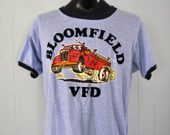 Vintage Ringer TShirt Jersey 70s 80s Tee Bloomfield Ct VFD Firefighters Heather Blue LARGE XL