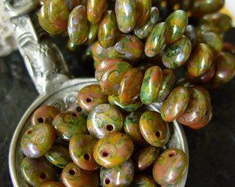 6mm Czech Lentil Glass Beads- Rhyolite Picasso (50)