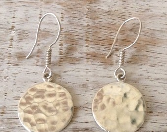 Hammered Round Drop Earrings