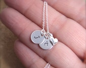 Dainty Initial necklace - Couples Initials - Mom gift - Personalized Sterling Silver discs - Photo NOT actual size