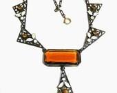 Edwardian Art Deco Large Amber Glass Pendant Necklace