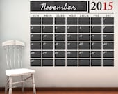 Vinyl Chalkboard Calendar Wall Decal - Chalkboard - Chalkboard Wall Decal - Wall Decal - Chalkboard Calendar - Decal Calendar - Calendar