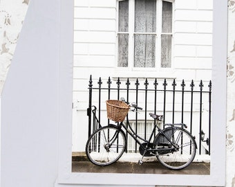 London Photo Notecard - Black Bicycle Note Card, Greeting Card, Stationery, Blank Notecard