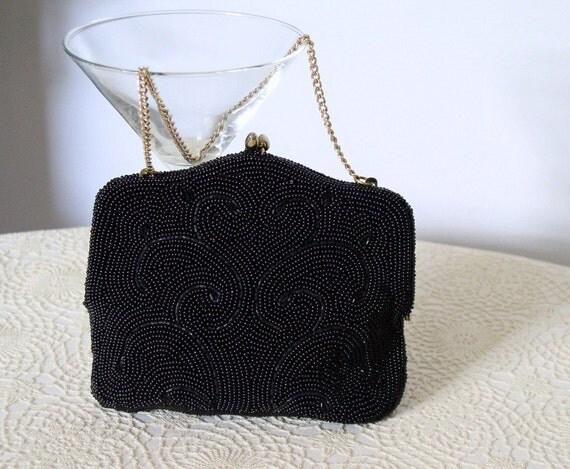 Vintage Clutch Handbag 1960s Clutch Black Beaded Purse Wedding Evening Bag Small Handbag