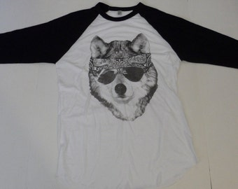 WOLF with Bandana 3/4 sleeve T-Shirt American Apparel Unisex sizes    XS  S M L or  XL