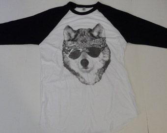 WOLF with Bandana 3/4 sleeve T-Shirt Unisex sizes    XS  S M L or  XL