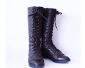 Brown leather lace up boots with zipper, size 8.5, vintage 90s, women's