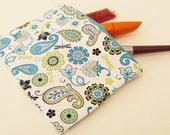 Travel Zipper Pouch- Blue, Lime Green, and White Floral Cosmetics Bag- Gadget Case- Ear Bud/ Earphone Pouch, Binky Bag-- Purse Organizer